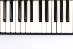 2 octave black and white keys of an electronic piano keyboard on a white background
