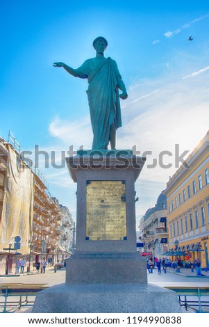 ODESSA / UKRAINE - SEPTEMBER 22, 2018: Statue of Duc de Richelieu in Odessa, Ukraine