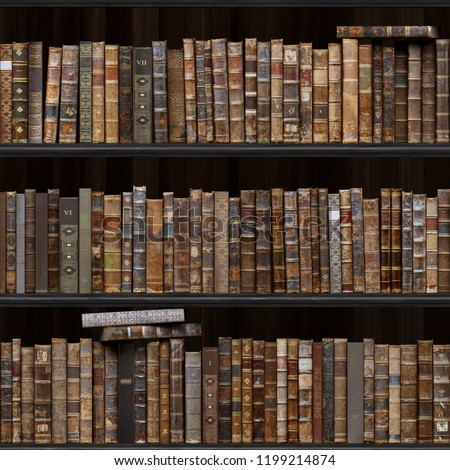 2 of 30 Black wood bookshelf. Old books seamless texture (vertically and horizontally). Tiled Bookshelf Background. Also tiled with other textures from same set in my gallery. Pack2.