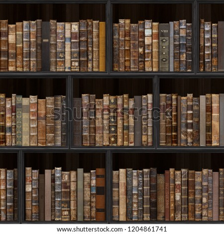 5 of 30 Black wood bookshelf. Old books seamless texture (vertically and horizontally). Tiled Bookshelf Background. Also tiled with other textures from same set in my gallery. Pack2.