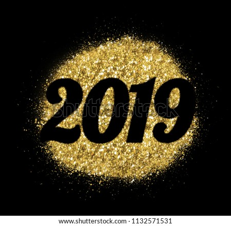 2019 of gold glitter on white background, symbol of New Year for your greeting card design. #1132571531