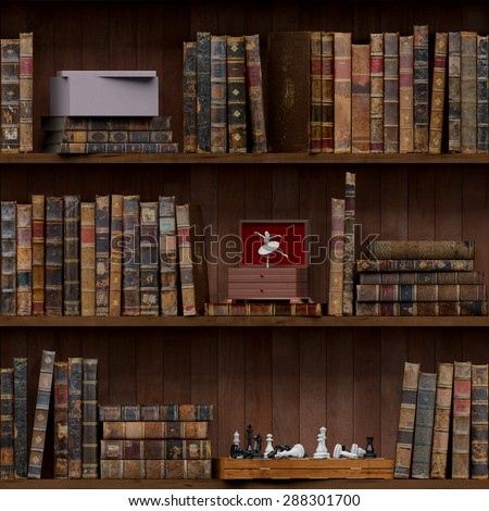 14of15 Old books seamless texture (vertically and horizontally). Tiled Bookshelf Background. Also tiled with other 15 textures from same pack in my gallery. With vintage stuff