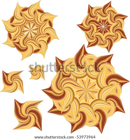 1 of 2 sets of round decorative stylized suns in yellow and brown colours (Vector version available)