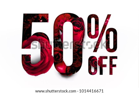 50% off discount promotion sale Brilliant poster, banner, ads. Precious Paper cut with Real red rose flowers for your elegant and unique selling poster / banner promotion offer percent discount ads.