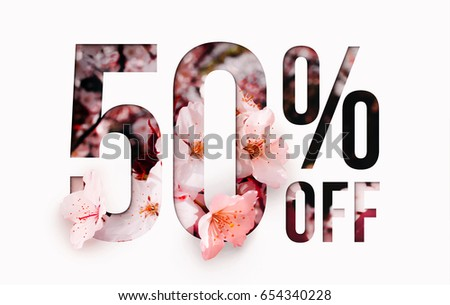 50% off discount promotion sale Brilliant poster, banner, ads. Precious Paper cut with real sakura flowers and leaves. For your unique selling poster / banner promotion offer percent discount ads.