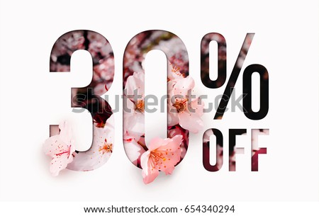 30% off discount promotion sale Brilliant poster, banner, ads. Precious Paper cut with real sakura flowers and leaves. For your unique selling poster / banner promotion offer percent discount ads.