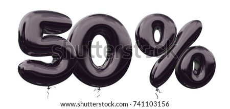 50% off discount promotion sale made of realistic 3d black helium balloons. Illustration of balloon percent discount collection for your unique selling poster, banner ads ; Christmas, Xmas sale & more