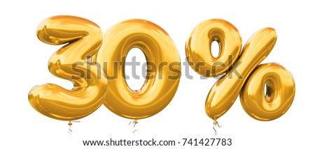 30% off discount promotion sale made of realistic 3d gold helium balloons. Illustration of balloon percent discount collection for your unique selling poster,banner ads ; Christmas, Xmas sale and more