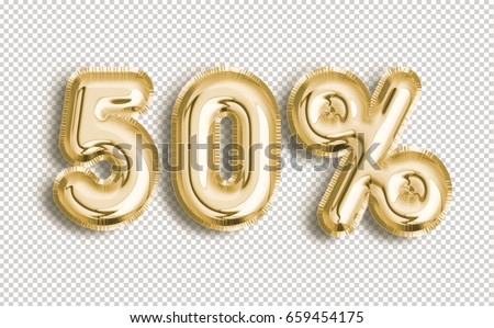 50% off discount promotion sale made of realistic 3d Gold helium balloons with Clipping Path. Illustration of balloon percent discount collection for your unique selling poster, banner, discount, ads.