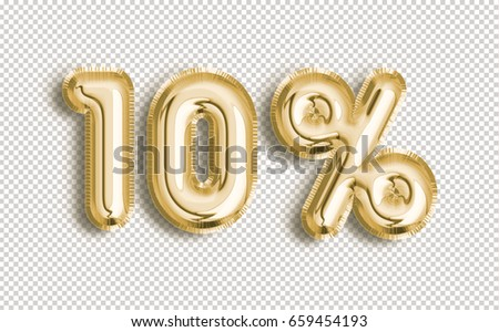 10% off discount promotion sale made of realistic 3d Gold helium balloons with Clipping Path. Illustration of balloon percent discount collection for your unique selling poster, banner, discount, ads.