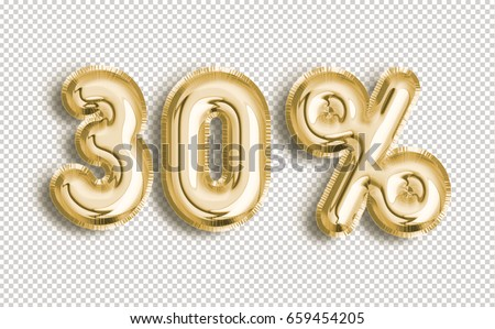 30% off discount promotion sale made of realistic 3d Gold helium balloons with Clipping Path. Illustration of balloon percent discount collection for your unique selling poster, banner, discount, ads.