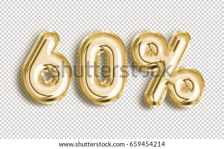 60% off discount promotion sale made of realistic 3d Gold helium balloons with Clipping Path. Illustration of balloon percent discount collection for your unique selling poster, banner, discount, ads.