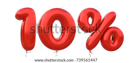 10% off discount promotion sale made of realistic 3d Red helium balloons. Illustration of balloon percent discount collection for your unique selling poster, banner ads ; Christmas, Xmas sale and more