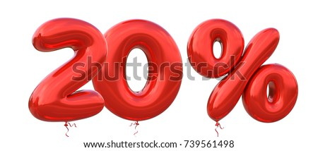 20% off discount promotion sale made of realistic 3d Red helium balloons. Illustration of balloon percent discount collection for your unique selling poster, banner ads ; Christmas, Xmas sale and more