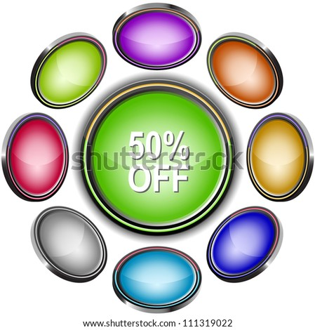50% OFF. Internet icons. Raster illustration.