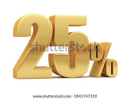 25% off on sale. Gold percent isolated on white background. 3d rendering. Illustration for advertising. Foto stock ©