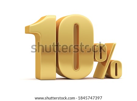 10% off on sale. Gold percent isolated on white background. 3d rendering. Illustration for advertising. Foto stock ©