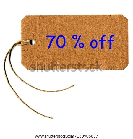 70% off price tag label with string