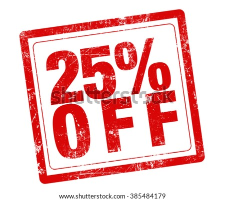 25% OFF red stamp text on white background
