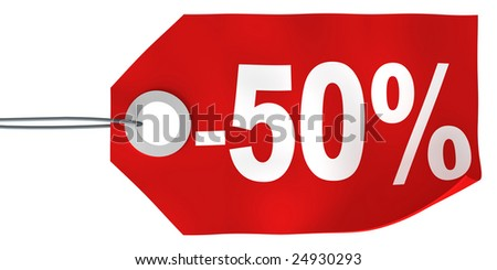 50% off tag - stock photo