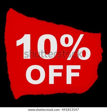 10% OFF Torn Red Paper Scrap Isolated on Black Background