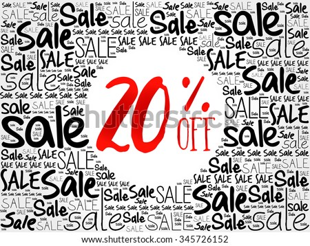 20% OFF word cloud background, business concept