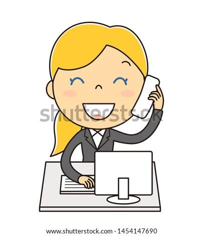 Office lady doing phone correspondence illustration clip art