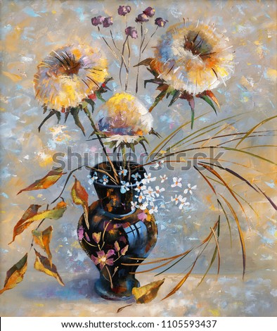 Oil painting. Dry flowers in a black vase against a backdrop of decorative texture on canvas. Author: Nikolay Sivenkov.