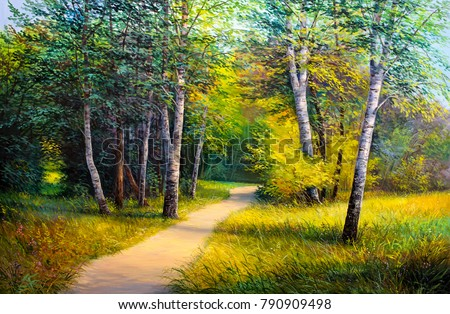 Stock Photo  Oil painting  forest landscape, beautiful solar road in the woods on canvas. Sunny summer in birch forest.