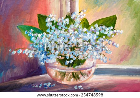 Oil painting of spring lily of the valley flowers in a vase on canvas, art work