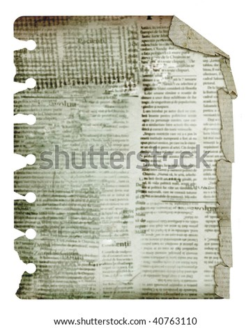Old alienated rough copy isolated on white background