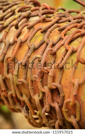 Old and rusty fountain chain