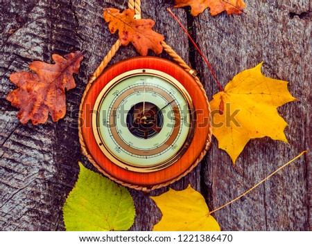 Old barometer, autumnal leaves all are on textured wooden surface  Concept of forecasting. Translations from German to English are: sturm is storm; veranderlich is changeable; schone is enjoyable #1221386470