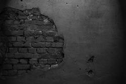 Old black wall. Brick background. Grunge