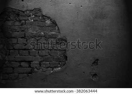 Old black wall. Brick background. Grunge