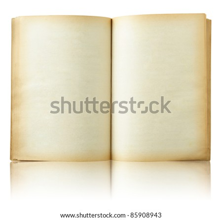 Old book open on reflect floor and white background