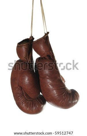 old boxing - glove on white background