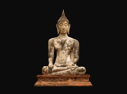 Old buddha image in isolated.