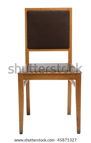 old chair with leather seat on a white background