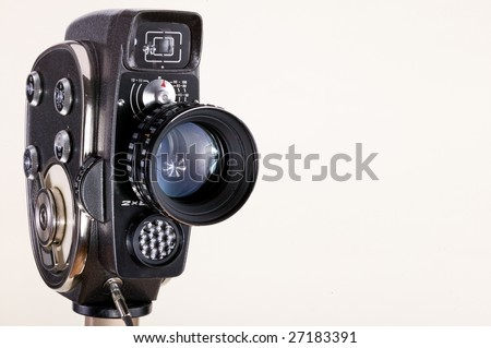 old cinema camera on white background
