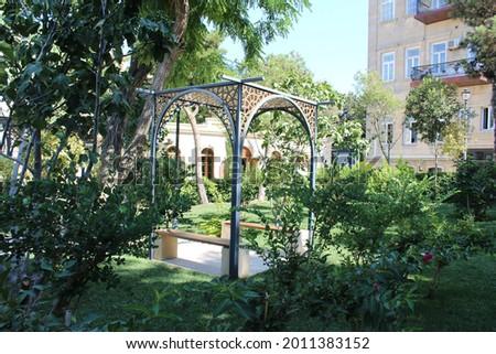 Old city İcharishahar in Baku. Park, greenery, historical buildings in Baku. Places to visit