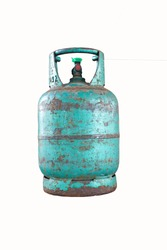 Old cooking gas cylinder on white background