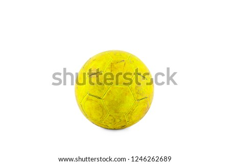 f1856b83faa old damaged yellow futsal ball on white background football object isolated