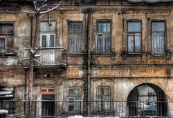 Old dilapidated houses, Russia, Rostov-on-Don. Exterior architecture and vintage building design.