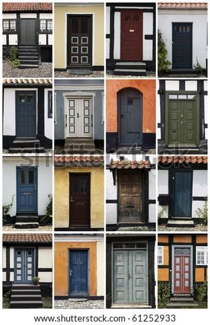 16 old doors in Denmark, Scandinavia.