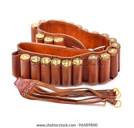 Old leather bandolier on a white background