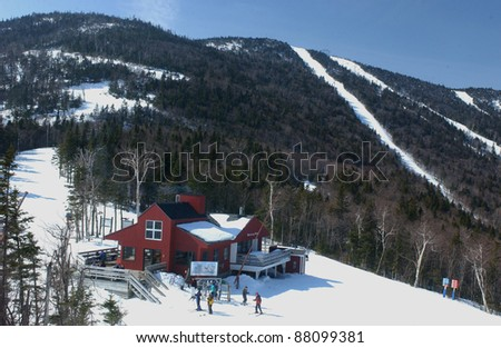Old lodge restaurant  in mid mountain at  Shugarbush Ski vacation resort, Vermont - stock photo