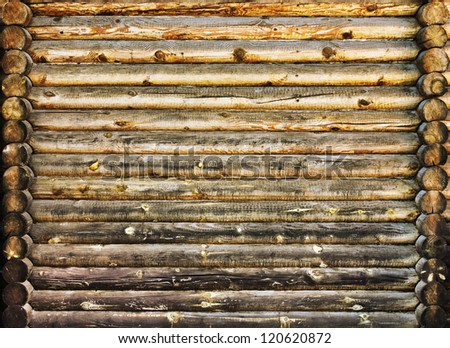 old log wall - stock photo