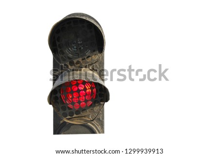 old railway traffic lights isolated on white.  prohibition signal concept #1299939913