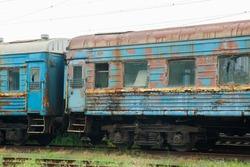 Old railway wagons,abandoned old railway wagons at station. Old train wagons